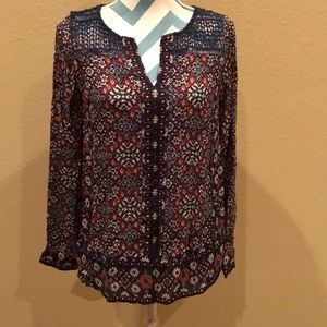 Lucky Brand printed top with crochet detailing!